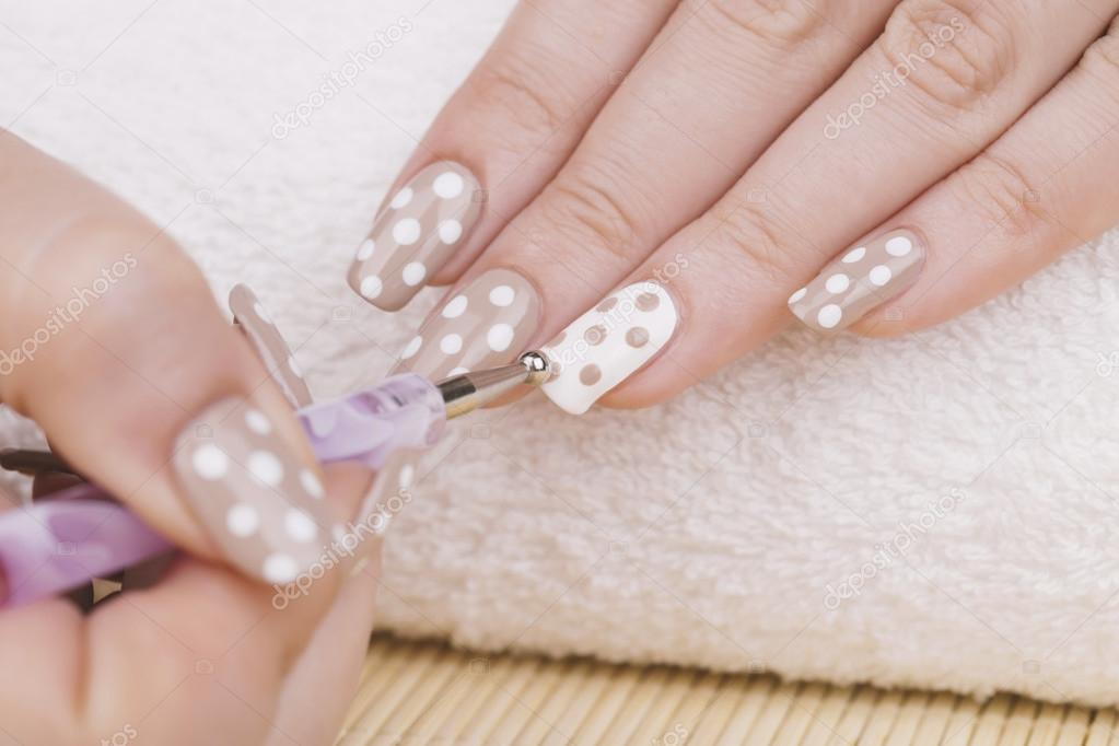 Feminine Nails With Nude And White Polish Stock Photo Tamara1983