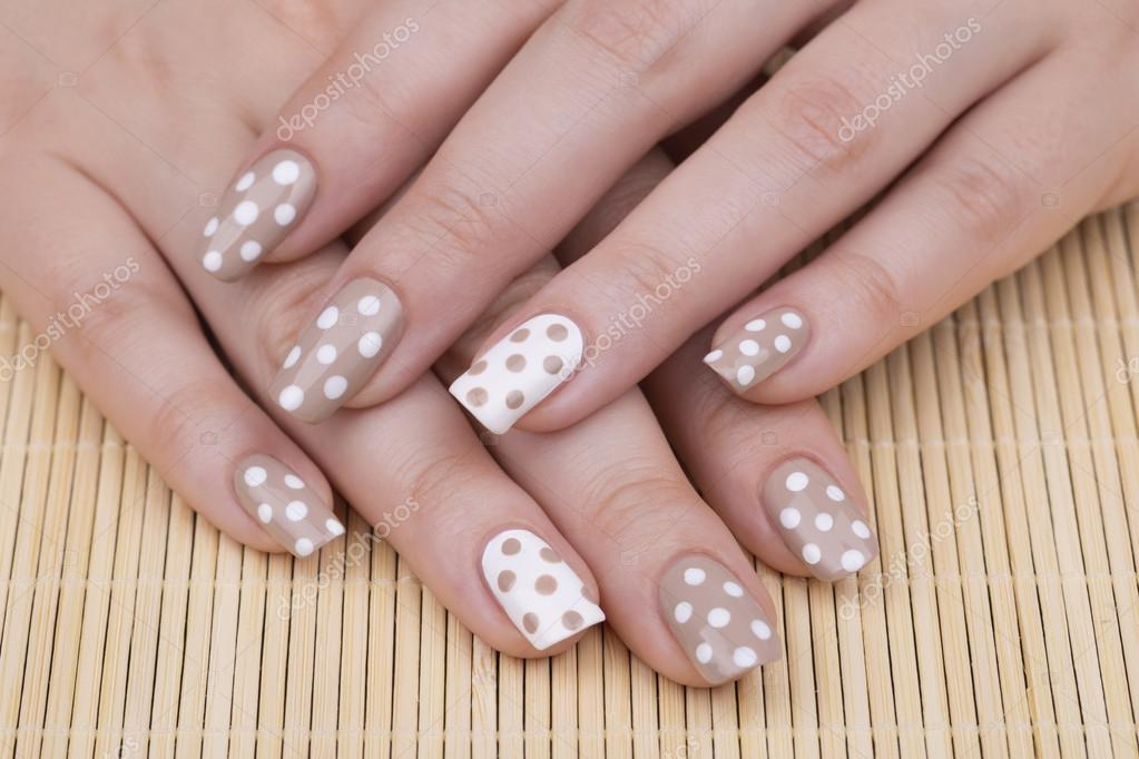 Feminine Nails With Nude And White Polish Stockfoto Tamara1983