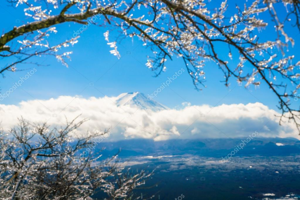 Mountain Fuji with ice