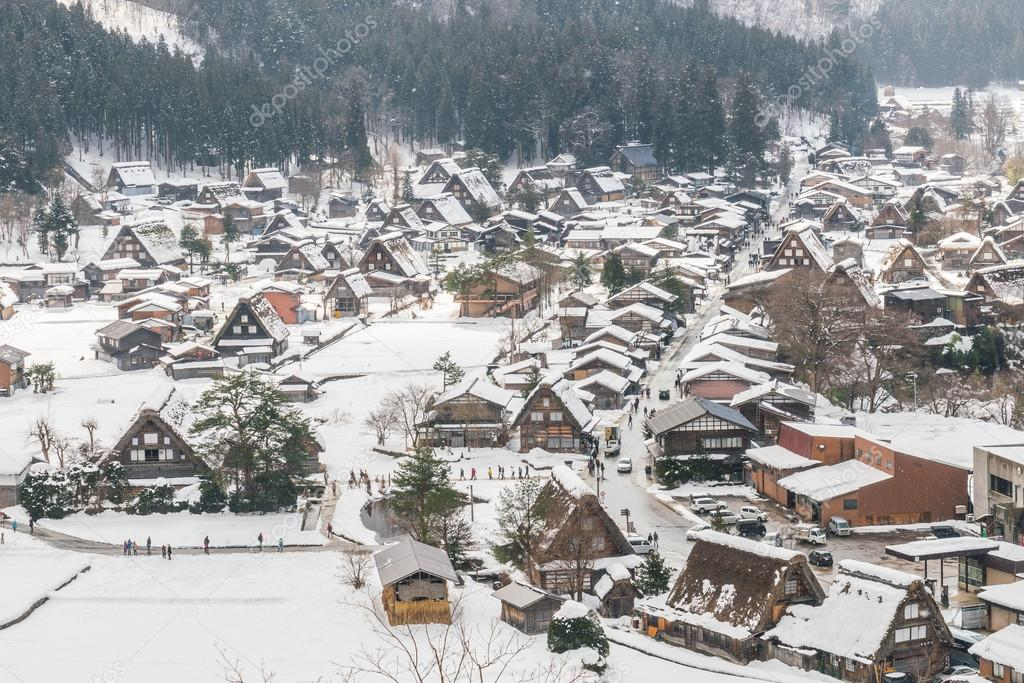 beautiful village in winter mountains