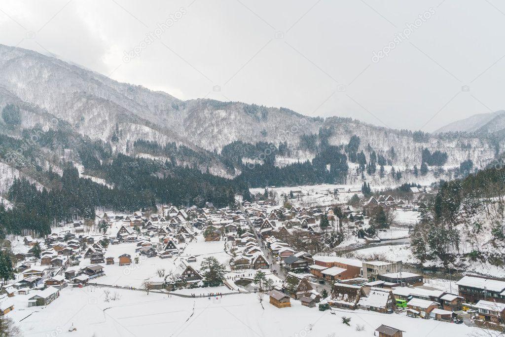 beautiful village in winter mountains