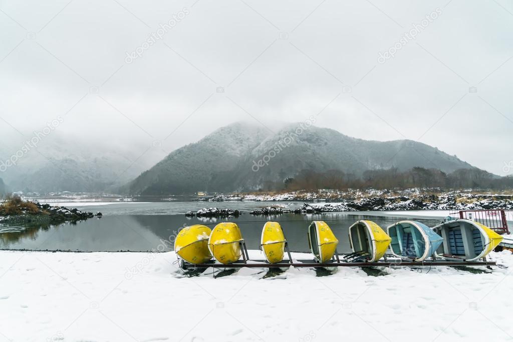beautiful lake in winter
