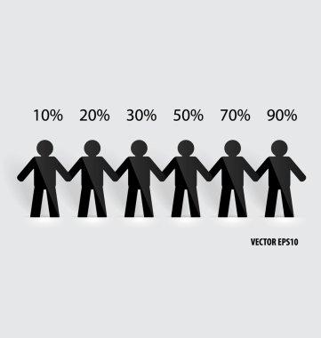 Social Network concept : People cut out of paper, vector illustr