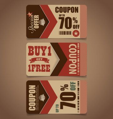 Sale Coupon, voucher, tag. Vintage Style template Design vector