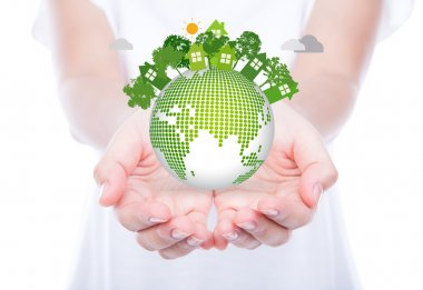 Woman hands over body hold eco friendly earth