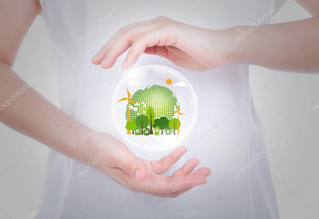 Woman hands over body hold eco friendly earth inside bubbles