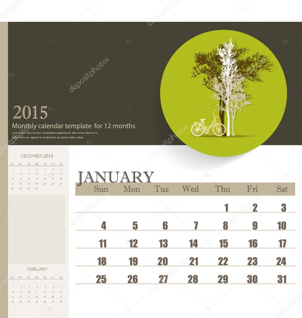2015 Kalender, monatlich Kalendervorlage für Januar. Vektor krank ...