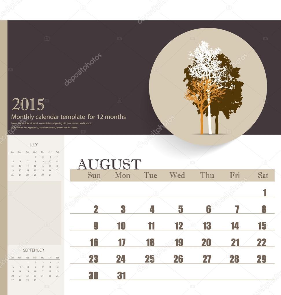 2015 Kalender, monatlich Kalendervorlage für August. Vektor-illu ...