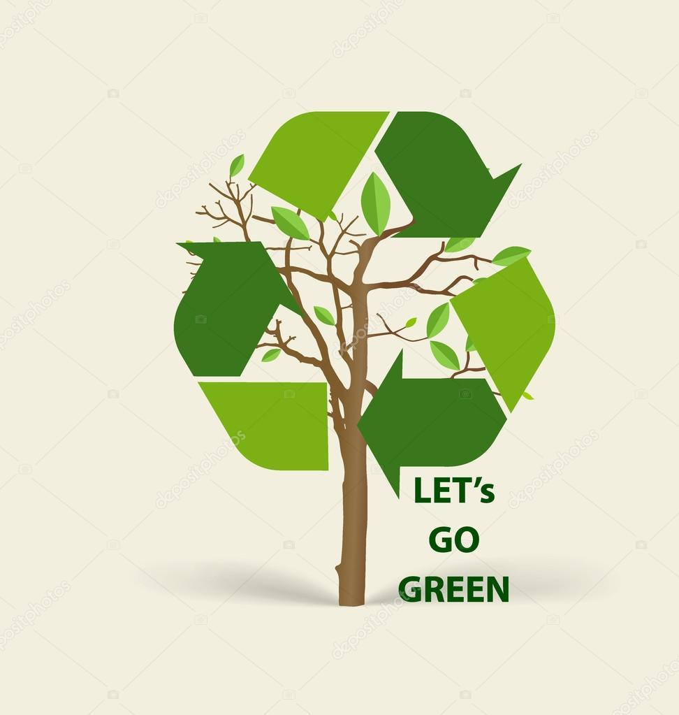 Arvore Em Forma De Simbolo De Reciclagem Simbolo De Vetor Na