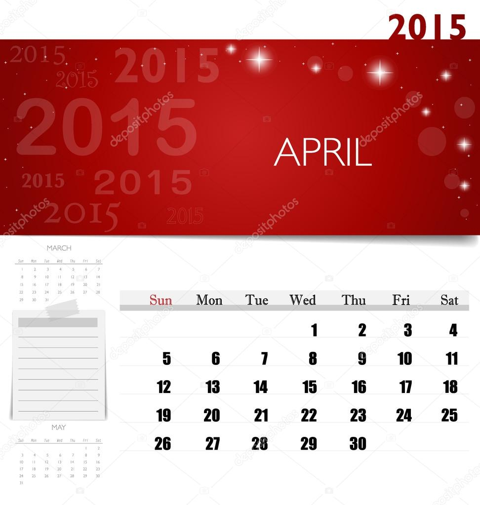 2015 Kalender, monatlich Kalendervorlage für April. Vektor-illus ...