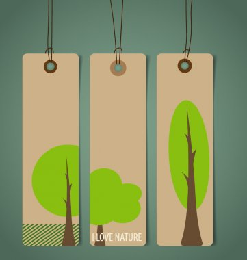 Nature banner, Eco organic labels and tags set. Vector illustrat