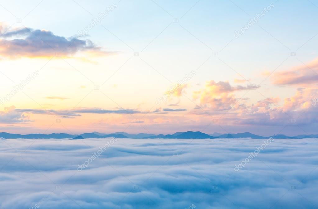 Fog and cloud mountain landscape