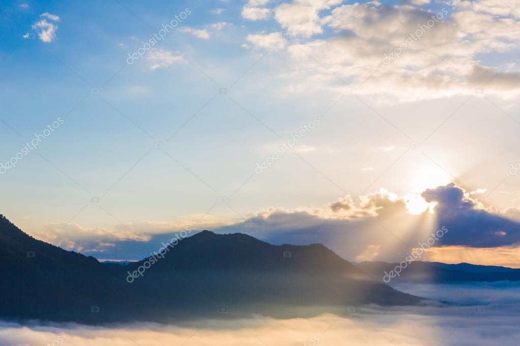 Fog and cloud mountain landscape