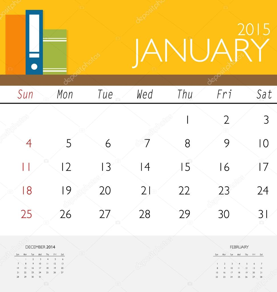 2015 calendar, monthly calendar template for January. Vector ill ...