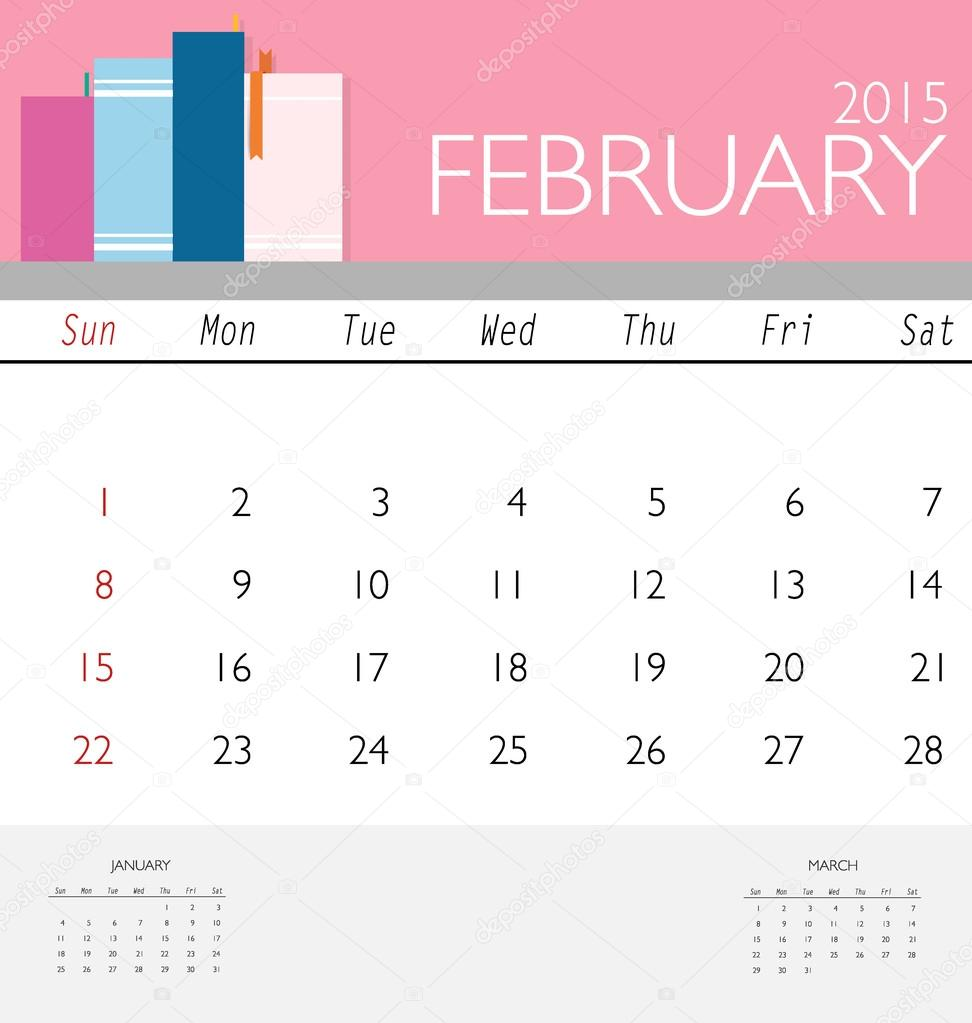 2015 Kalender, monatlich Kalendervorlage für Februar. Vektor-il ...