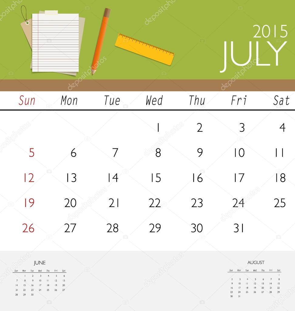 2015 Kalender, monatlich Kalendervorlage für Juli. Vektor, Abbildung ...