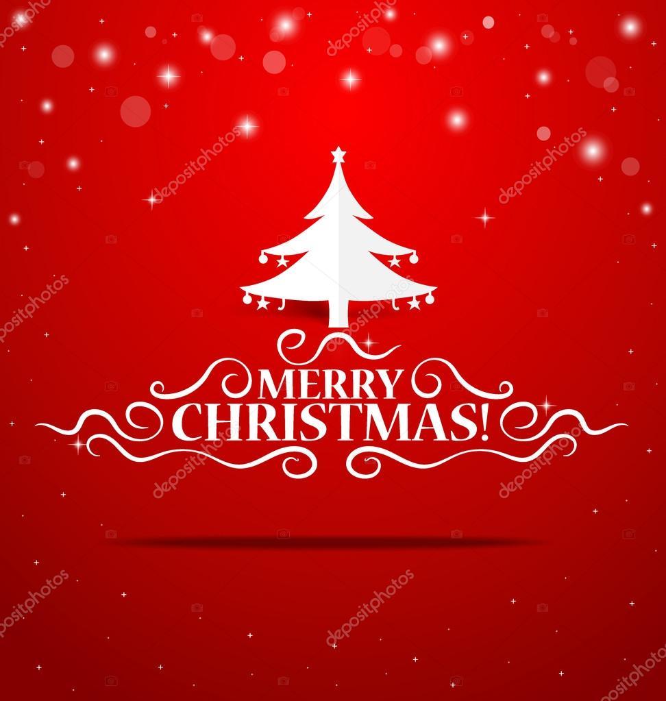 Cartoline Di Auguri Di Natale.Cartolina D Auguri Di Natale Lettering Con Origami Albero Di Natale