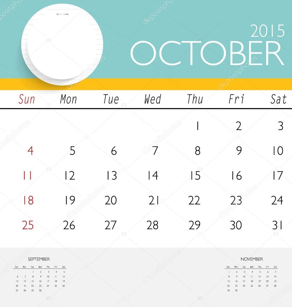 2015 Kalender, monatlich Kalendervorlage für Oktober. Vektor krank ...