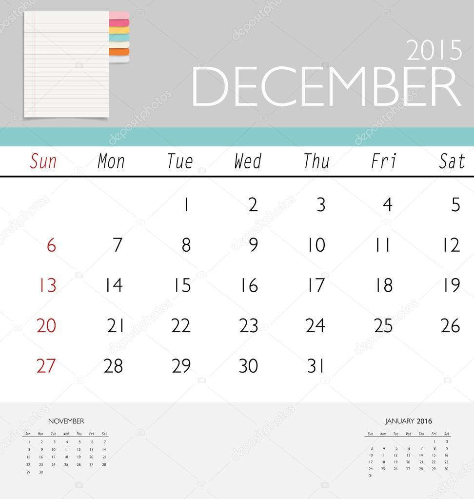 calendario 2015, plantilla de calendario mensual de diciembre. Il de ...