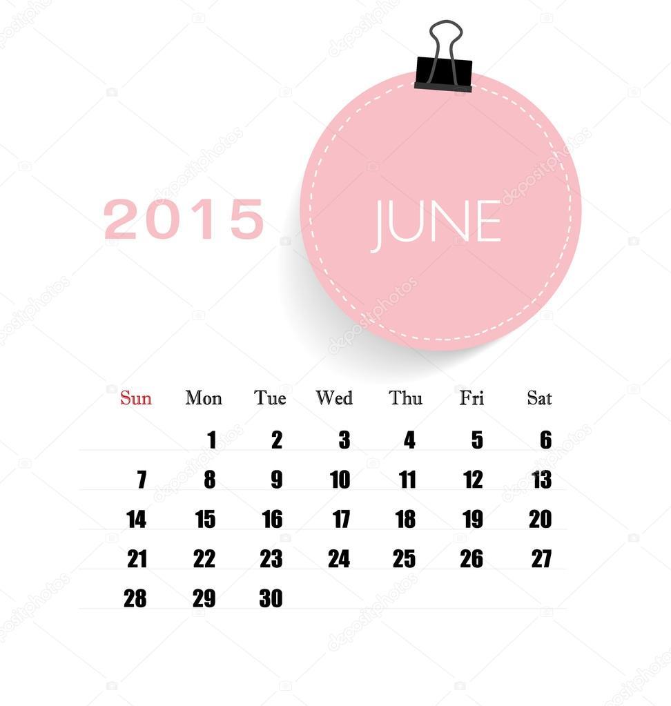 calendario 2015, plantilla de calendario mensual de junio. Vector ...