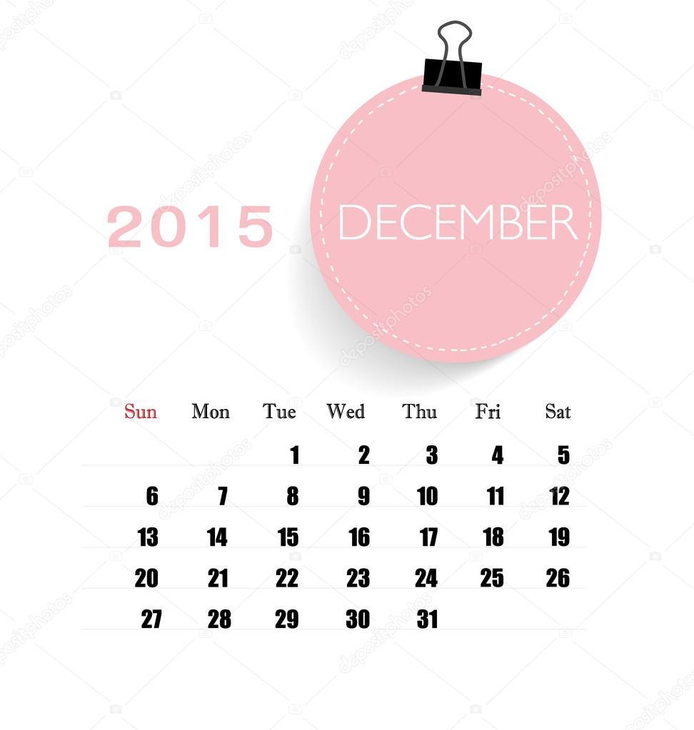 2015 Kalender, monatlich Kalendervorlage für Dezember. Vektor-il ...