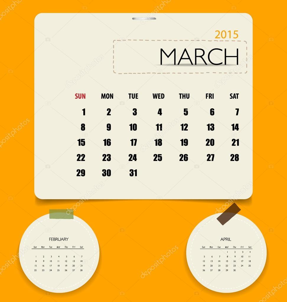 monthly calendar templates 2015