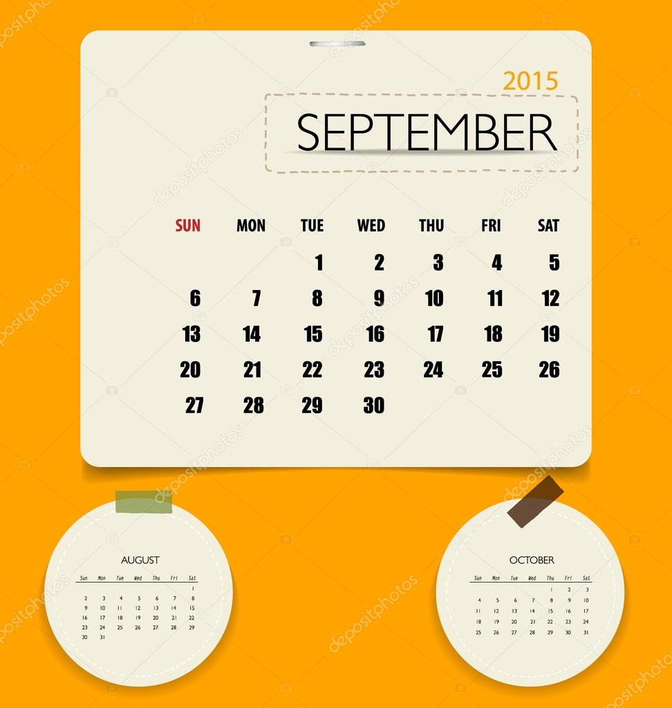 2015 Calendar Monthly Calendar Template For September Vector I