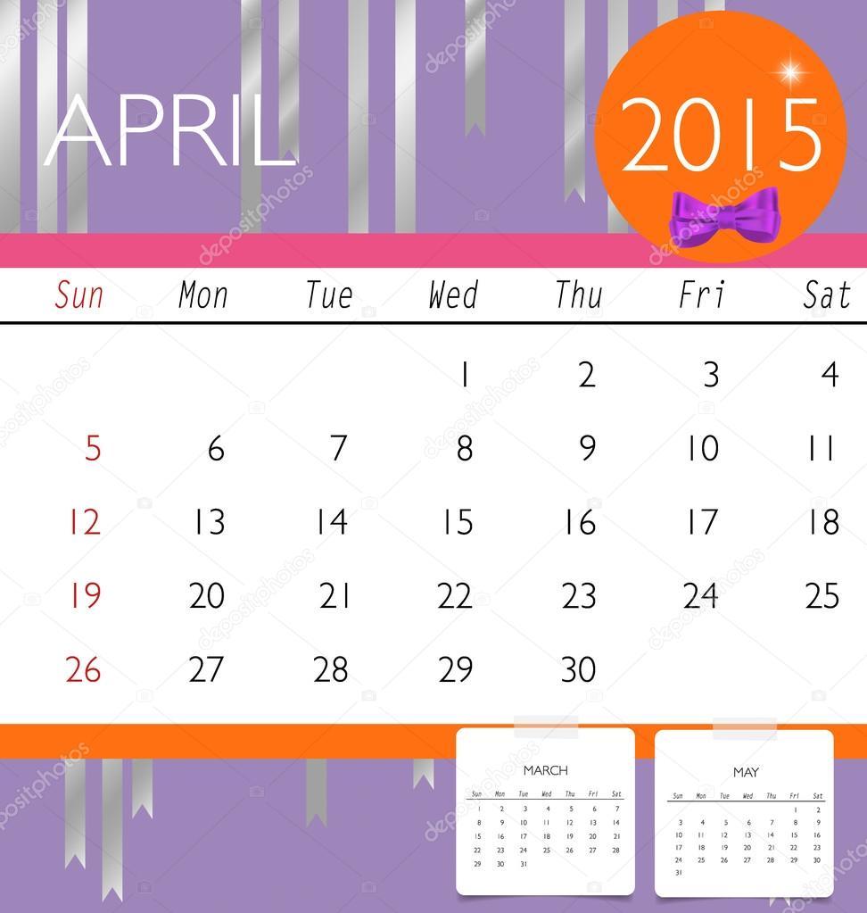 2015 calendar monthly calendar template for april vector illus stock vector
