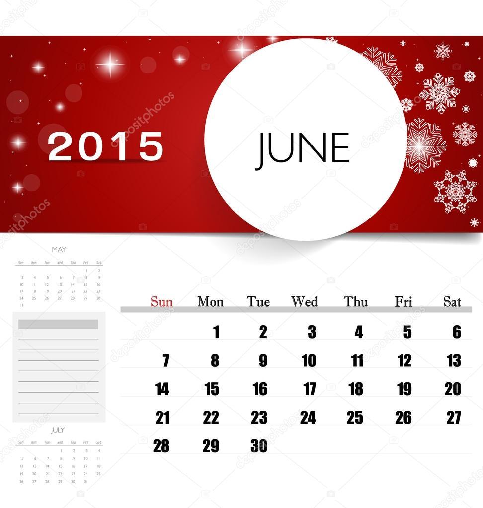 2015 Calendar Monthly Calendar Template For June Vector Illust