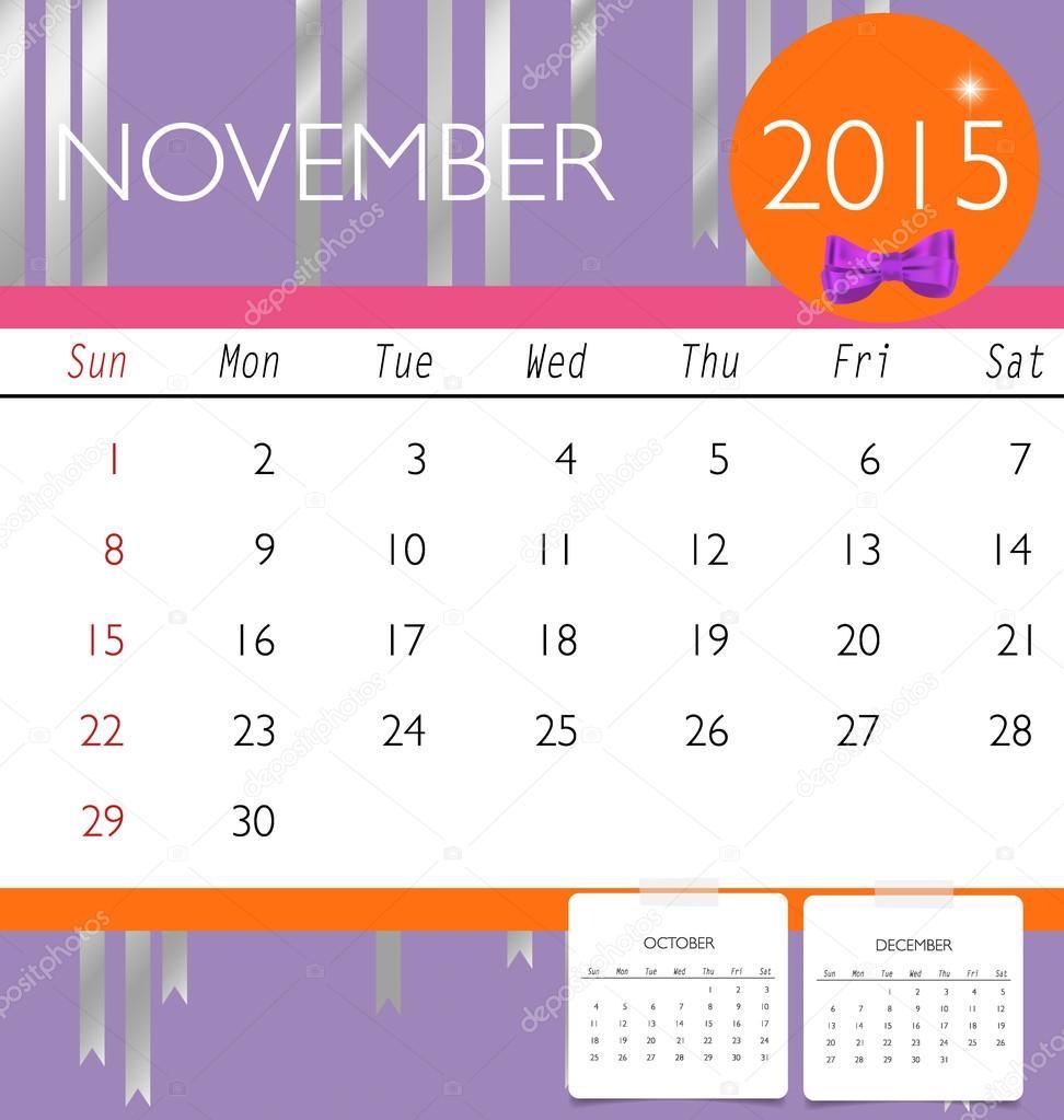 2015 Kalender, monatlich Kalendervorlage für November. Vektor-il ...