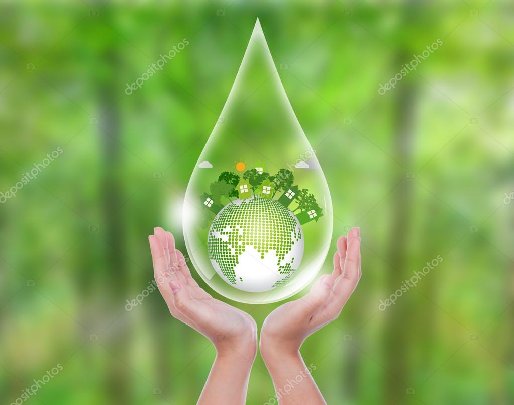 Woman hands over green forest hold water drop of  eco friendly e