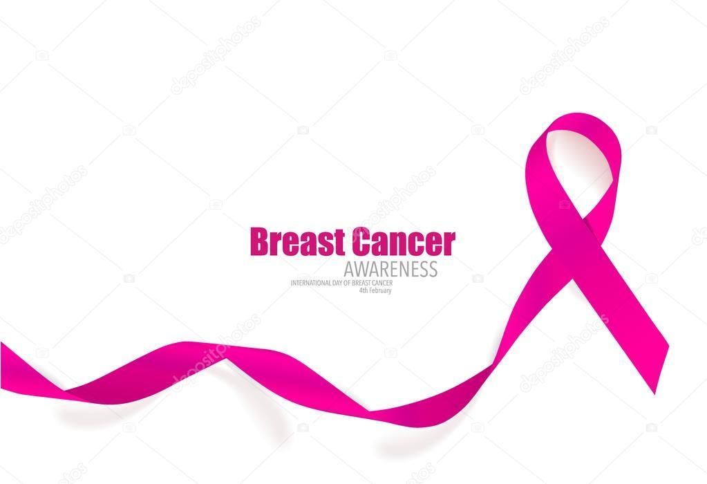 Breast cancer awareness pink ribbon. Vector Illustration. stock vector