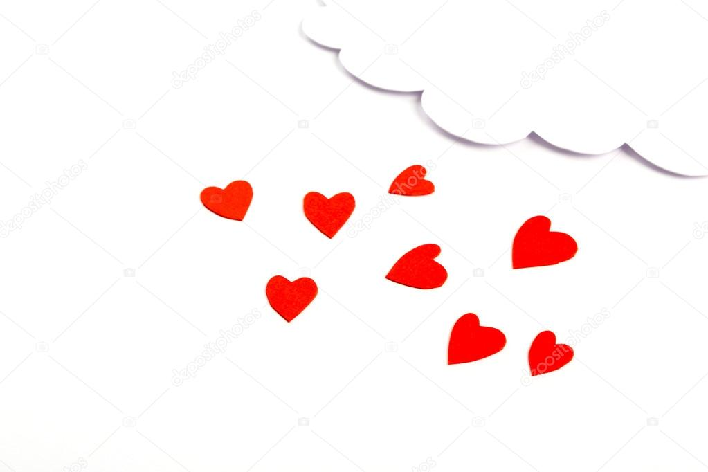 Paper Heart Shape With Cloud Symbol For Valentines Day With Cop