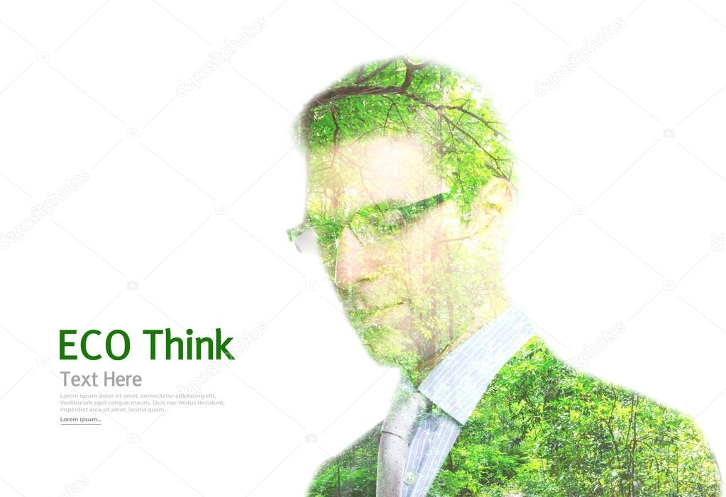 Double exposure portrait of young Business man with green forest