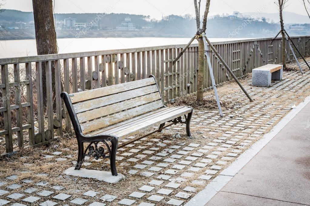 Vintage bench at the river