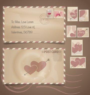 Vintage postcard background and Postage Stamps - for wedding card design, invitation card design, congratulation card design, scrapbook design clip art vector