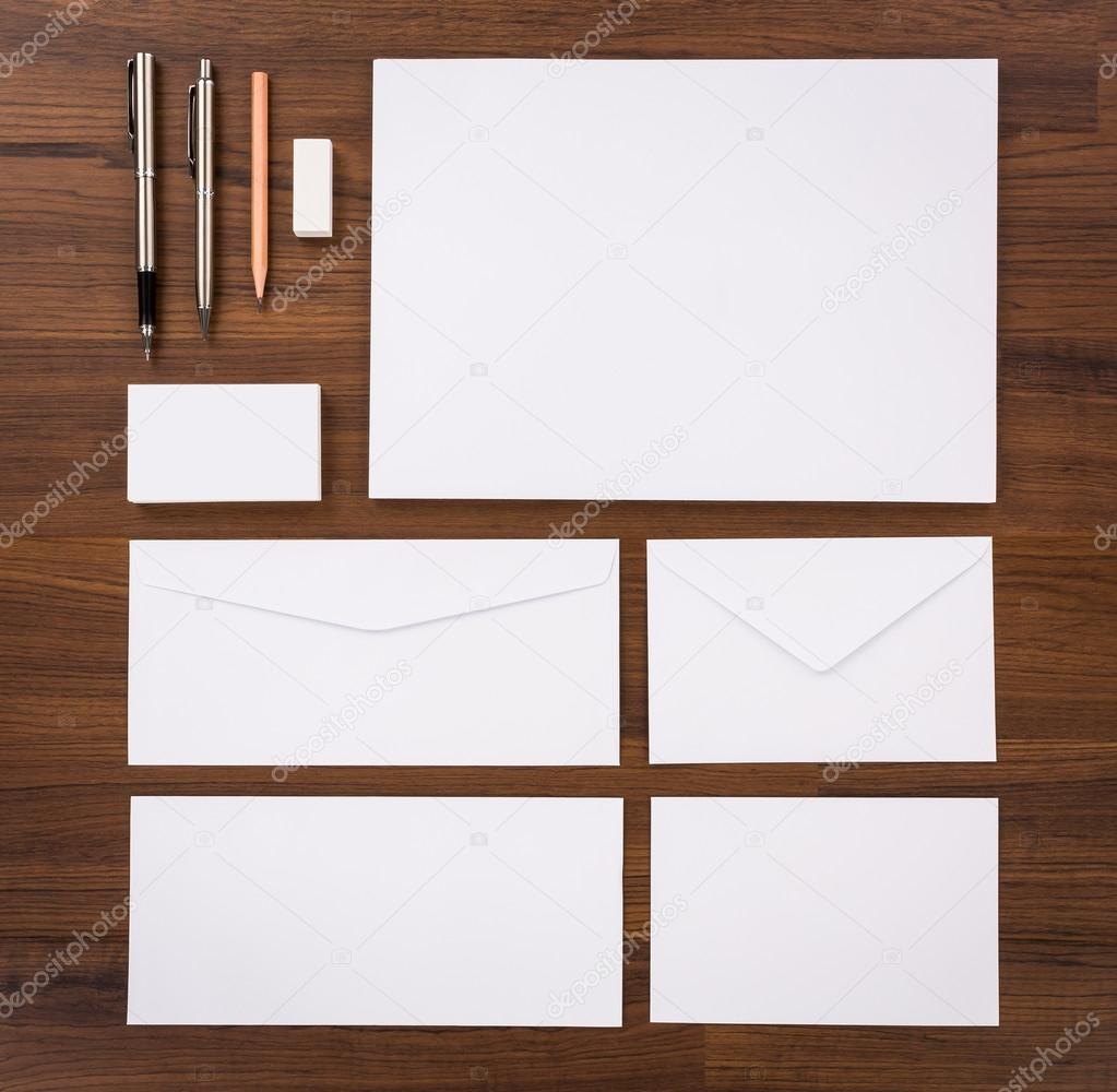 Blank template consist of business cards letterhead a4 pen e blank template consist of business cards letterhead a4 pen envelopespencileraser on wood table photo by jannystockphoto flashek Gallery
