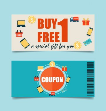 Gift coupons with Business concept, Infographics background. Vec