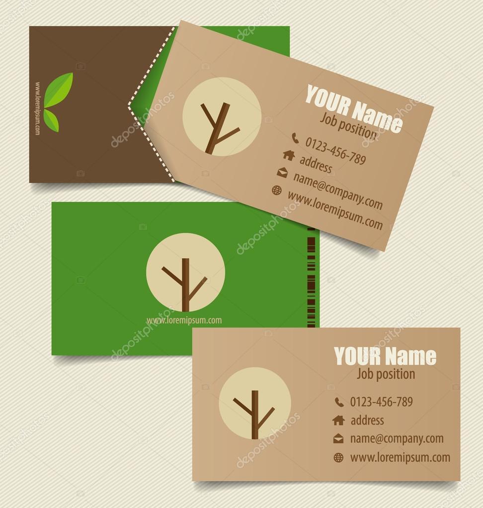 Modele De Carte Visite Moderne Avec Fond Nature Illustration Vectorielle Vecteur Par