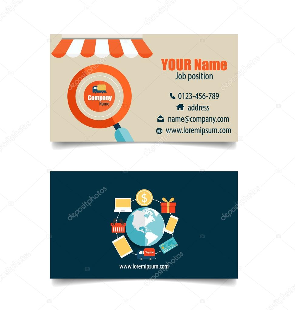 Modern business card template with business concept online shop modern business card template with business concept online shop stock vector wajeb Image collections