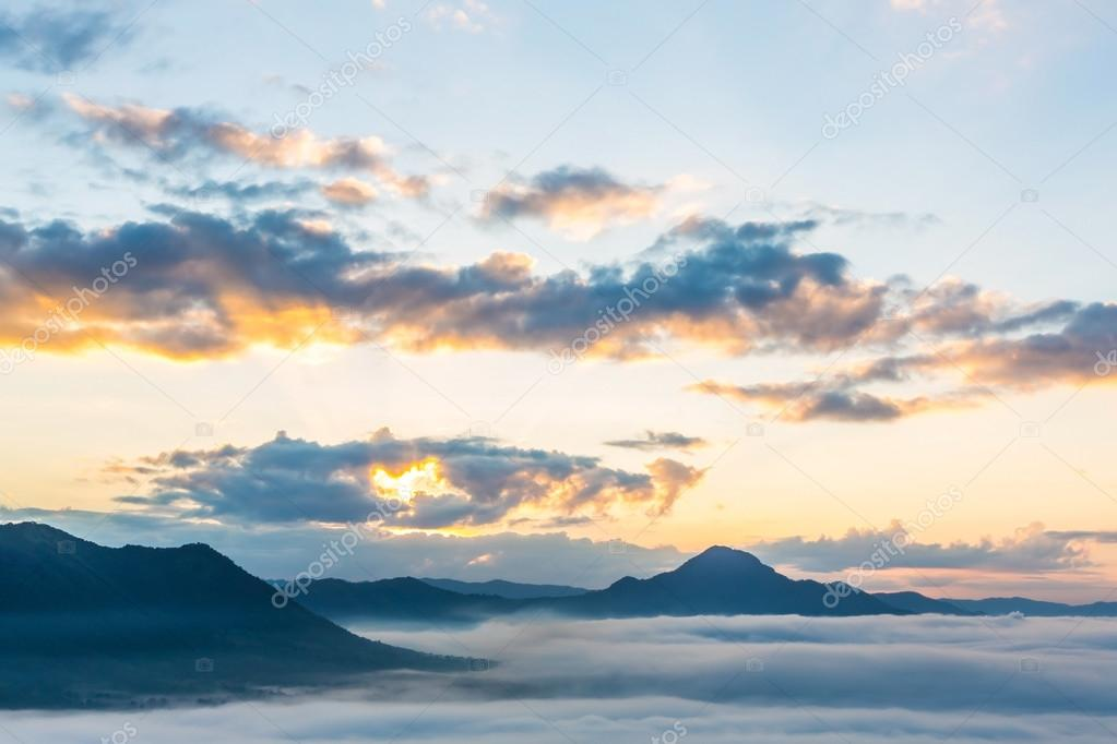 Fog and cloud mountain landscape ( HDR processing effect )