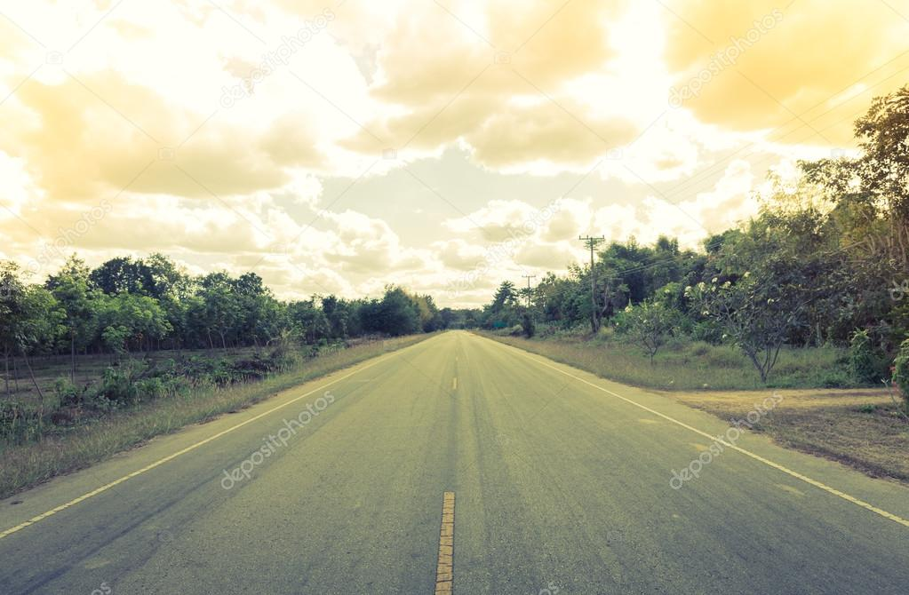 Road with trees ( Filtered image processed vintage effect. )