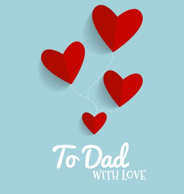 Happy fathers day card design with Red heart. Vector Illustratio