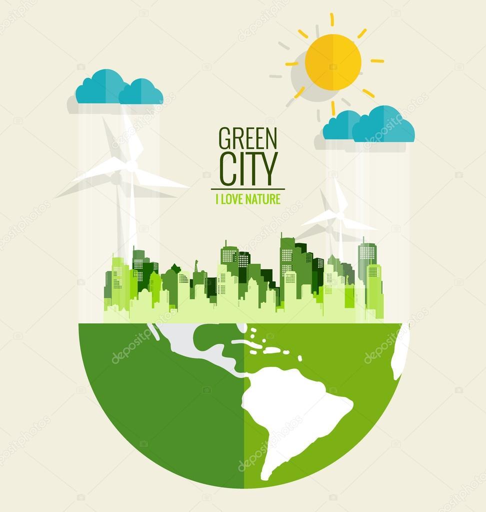 Green city. Environmentally friendly world. Ecology concept. Vec