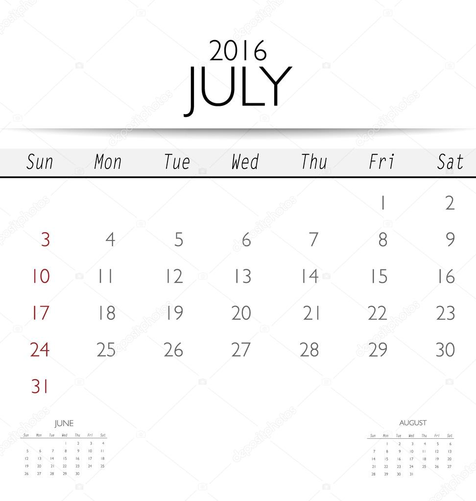 Kalendervorlage für Juli — Stockvektor © jannystockphoto #82016474