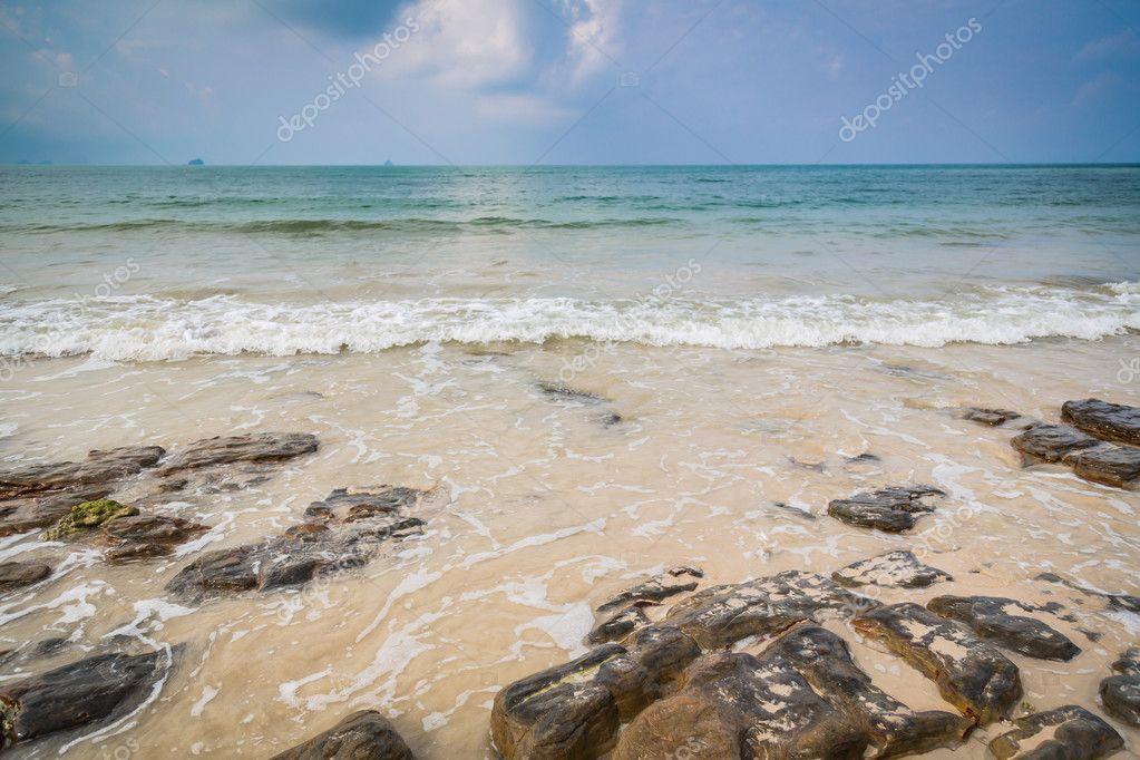 Rocks on idyllic beach
