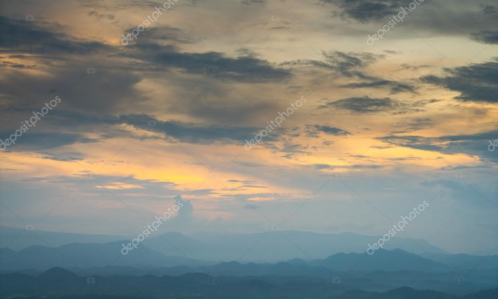 sunset and mountain landscape