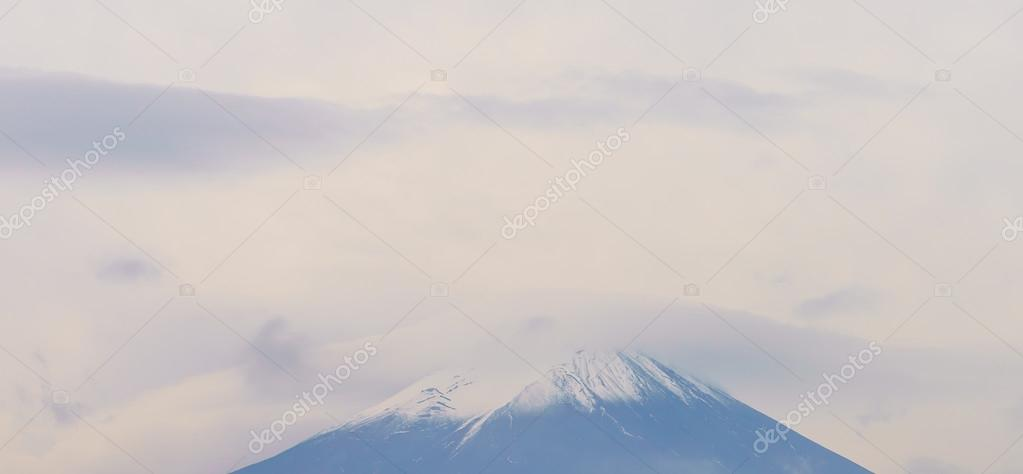 Mount Fuji in clouds