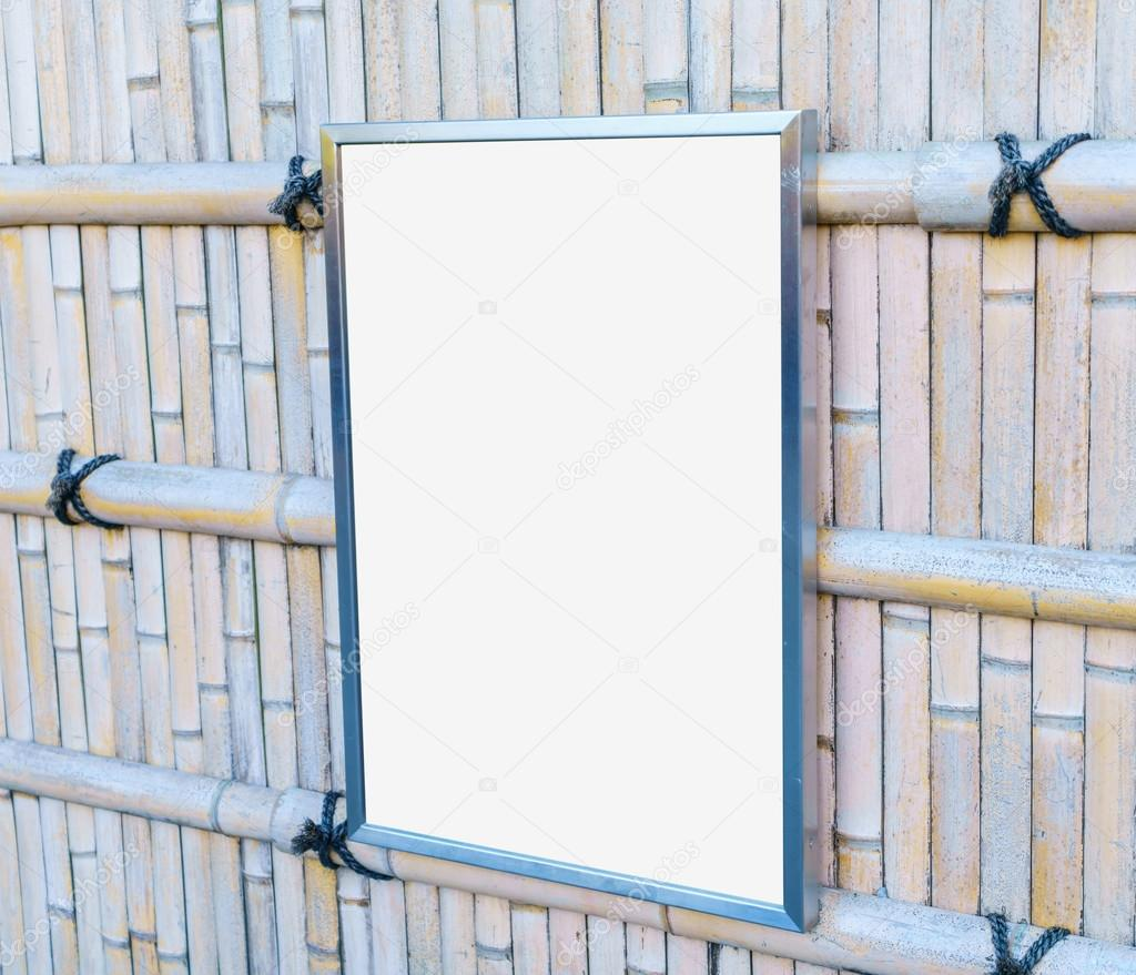 Empty frame On Bamboo Wood Fence — Stock Photo © jannystockphoto ...