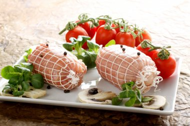 Roulade of meat stuffed